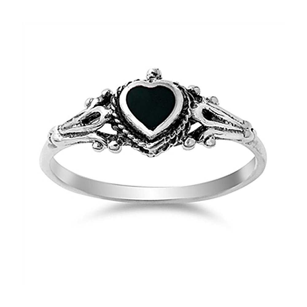 Sterling Silver Simulated Black Onyx Vintage Style Heart Promise Ring 8mm ( Size 4 to 10 )