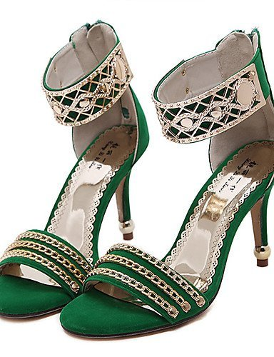 ShangYi Womens Shoes Synthetic Stiletto Heel Open Toe Sandals Party & Evening / Dress Black / Green / Red Red