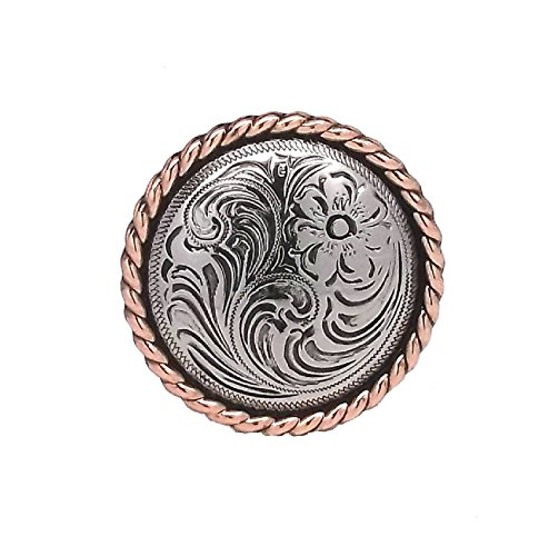 - Rose Flower Antique Silver with Copper Rope Edge Screwback Concho 1785-NC