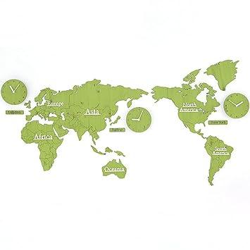 Large World Map Amazon.Amazon Com Liu Diy Wall Clock World Map Large Modern Wooden Quartz