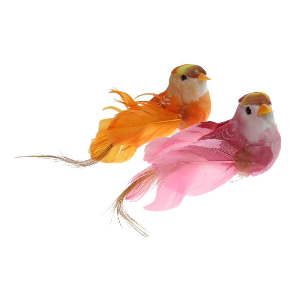 Homyl 2x Vivid Animal Statues Little Bird Outdoor Garden Grassland Tree Standing Lawn Ornament Photography Props Home Decor Gifts - Clips, 13cm