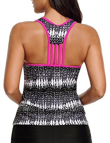 CICIDES Womens Sexy V Neck Tank Top Striped Swimsuit One Piece Tankini Tops Racerback Tankini Swimsuit Swimwear Black US22-24 XXX-Large Plus Size For Women