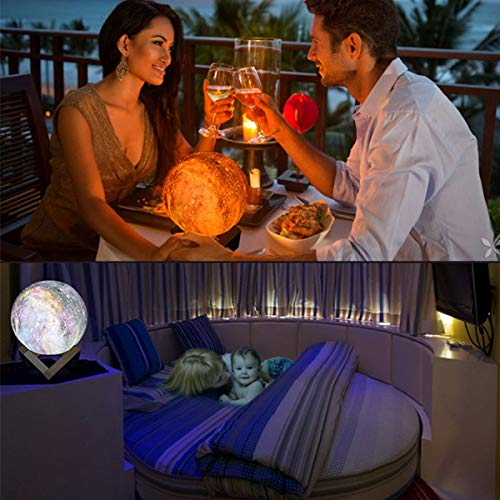 Moon Lamp,3D Moon Light with Wooden Stand Rechargeable Moon Lamp Night Light 16 LED Colors Remote Touch Control Dimmable Decorative Moon Light for Baby Kids Bedroom Birthday Party (A)