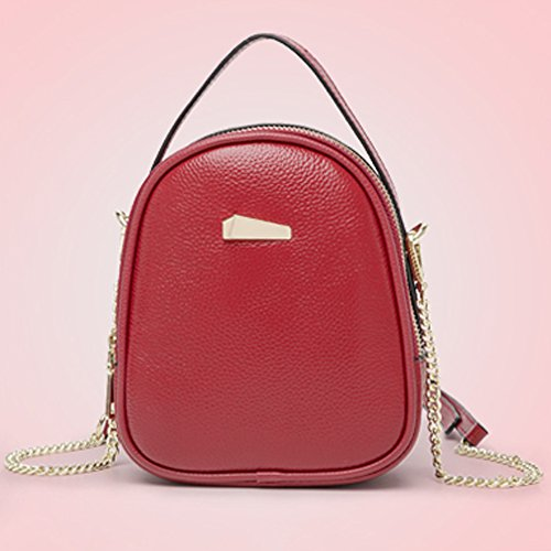 JIUTE Ms Color Leather Bag Red RED Shoulder package Chain Mini OraF5xOwq