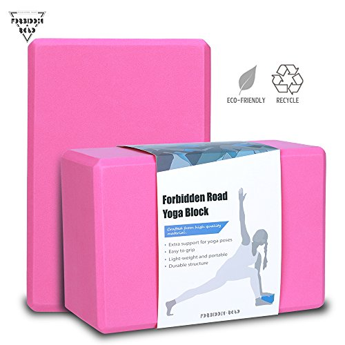 Forbidden Road Yoga Blocks 2 pack / 1 pack 5 Colors EVA Foam Yoga Bricks Blocks Set of 2 Provides Stability Balance Improve Strength and Deepen Pose - Great Yoga Props for Yoga Workout Fitness and Gym