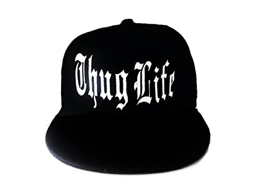 c36d7e031 Thug Life Solid Black and White Snapback Hat Flat Bill Snap back ...