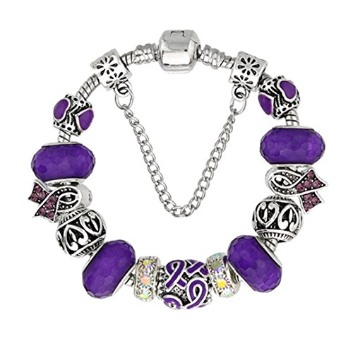 Antique Silver Bracelets For Women Murano Glass Bead Crystal Breast Cancer Awareness Pink Ribbon Charms Bracelet purple 20cm