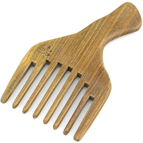 Evolatree Wood Comb for Hair – Handmade Natural Wooden Combs with Anti-static & No Snag – Afro Pick, Lift Comb, 5.5″ x 3.25″ For Sale