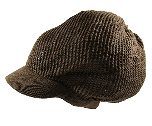 RW 100% Cotton Mesh Rasta Light Weight Slouchy Beanie Visor (BROWN)