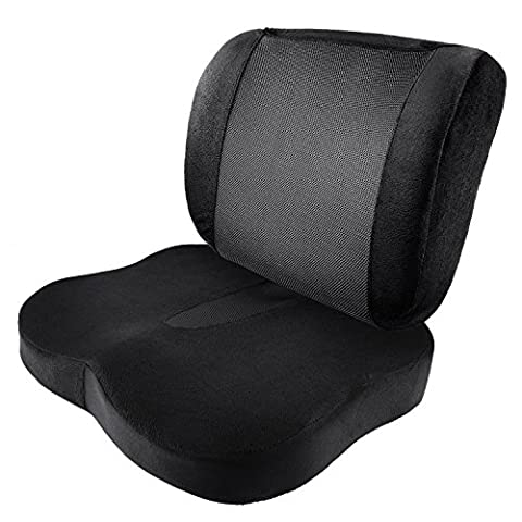 Antaprcis Memory Foam Office Chair and Car Seat Cushion and Lumbar Support Provides Low Back Support, Tailbone and Sciatica Pain Relief Improves Posture Washable Cover Set of - Lumbar Set