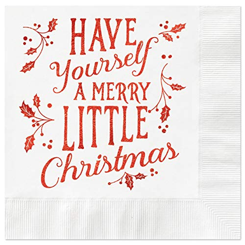 Merry Little Christmas Coined Cocktail Napkins - Package of 25, White Napkin with Red Metallic Foil. 4 3/4 x 4 3/4 folded. Made in the USA ...