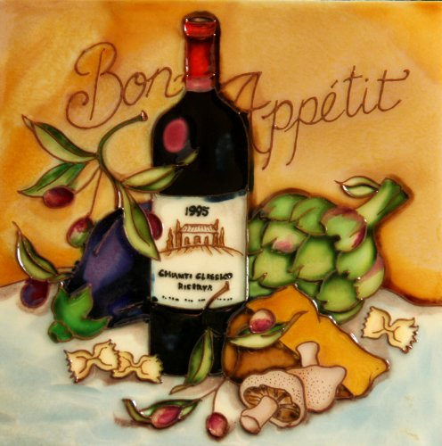 (Bon Appetit - Wine & Cheese Tasting - Decorative Ceramic Art Tile - 8