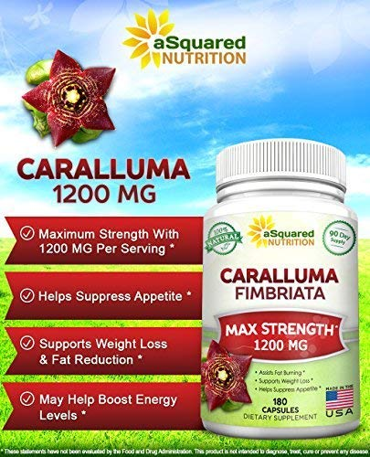 100% Pure Caralluma Fimbriata 1200mg - 180 Capsules, Natural Extract Weight Loss Diet Pill Supplements, Best Natural Plant Root Appetite Suppressant & Energy Booster, Max Strength Slim Lean Fat Burn