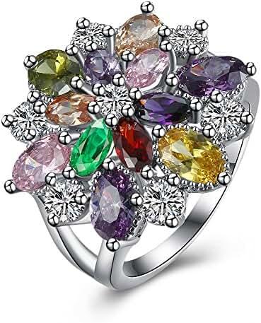 AKLOVER 925 Sterling Silver Stunning Flower Shaped Zircon Ring for Elegant Women