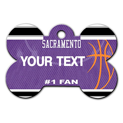 BleuReign(TM) Personalized Custom Name Basketball Sacramento License Plate Auto Tag Bone Shaped Metal Pet ID Tag with Contact Information