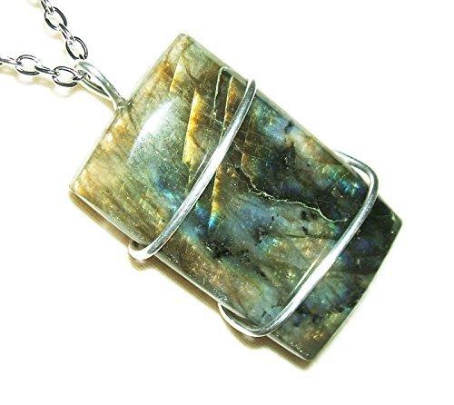 LABRADORITE Necklace Wired Cabochon Silver Pltd TRANSFORMATION STRENGTH INTUITION Metaphysical Stone - Freeform Labradorite Pendant