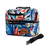 Double Deck Tote Cooler Bag Large Insulated Lunch Bag for Men and Women with Shoulder Strap (Feathers)