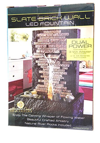 Tabletop Water Fountain with LED Light Slate Brick Wall Led Fountain