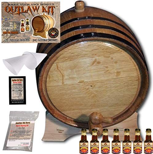 Barrel Aged Whiskey Making Kit - Create Your Own Canadian Rye Whiskey - The Outlaw Kit from Skeeter's Reserve Outlaw Gear - MADE BY American Oak Barrel (Natural Oak, Black Hoops, 5 Liter) ()