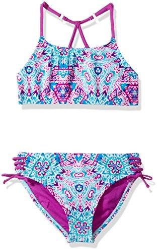 Vigoss Big Girls' Ziggy Two Piece Ladder Back Swimsuit, Purple Cactus, 14