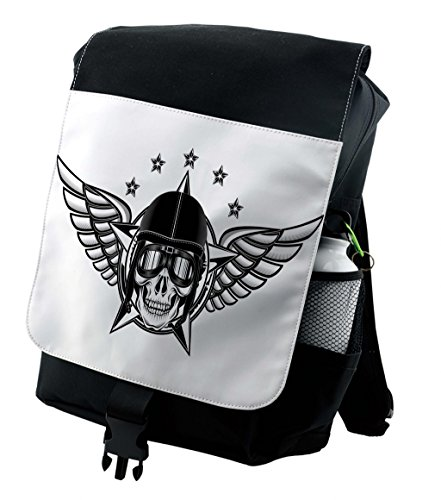 Lunarable Skull Backpack, Pilot with Wings Aviation, Durable All-Purpose -