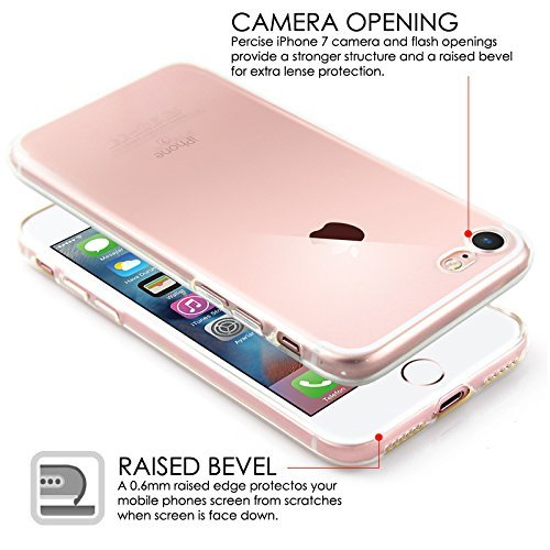 Funda iPhone 7/iPhone 8 Carcasa Gel Transparente Caso Suave Flexible TPU Claro Silicona Ultra Fina Delgado Back Cover Anti-Rasguño Protectora Trasera Case