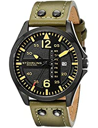 Men's 699.03 Aviator Quartz Day and Date Watch With Green Leather Band