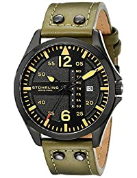 "Stuhrling Original Men's 699.03 ""Aviator"" Day and Date Stainless Steel Watch with Green Leather Band"