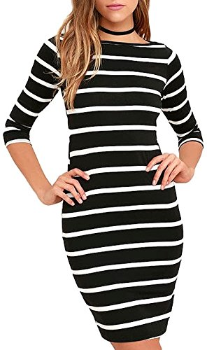 3/4 sleeve black and white dress - 9