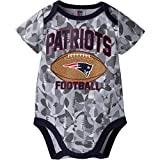 NFL New England Patriots Boys Camouflage Bodysuit, 3-6 Months, Gray