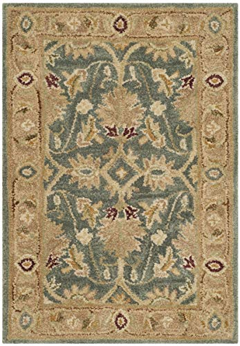 Safavieh Antiquities Collection AT849B Handmade Traditional Oriental Teal Blue and Taupe Wool Area Rug (2' x 3') (Oriental Rugs Wool)