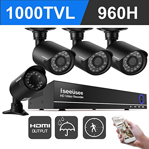 ISEEUSEE 960H 4 Channel Dvr Security Camera System with 960H DVR Recorder,720P Night Vision Outdoor Weatherproof CCTV Surveillance Camera, NO Hard Drive