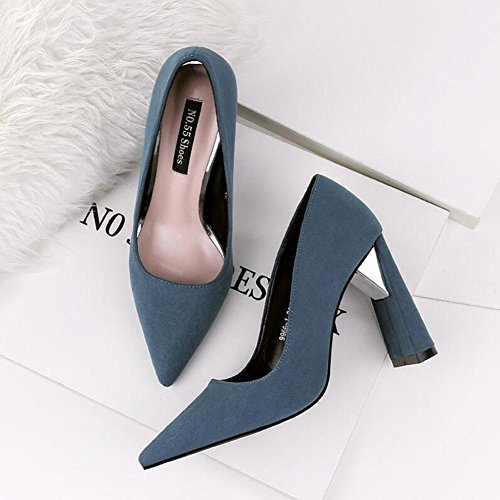 avec éPais Seule Une blue 10cm à Pointed Professional Nightclub Chaussures Chaussure Talons Cuir En Hauts Suede aqxxOv7Pw