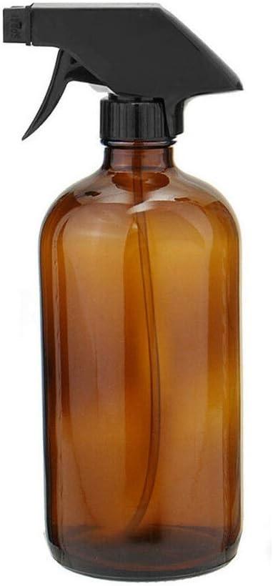 Kaiking Botella Recargable de Botella de Vidrio Redondo Boston de 16 Onzas para Aceites Esenciales, Productos de Limpieza, Detergente Casero para Lociones