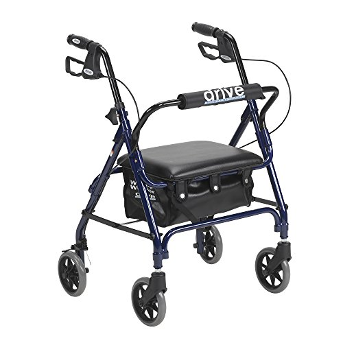 Drive Medical Junior Rollator with Padded Seat, Blue
