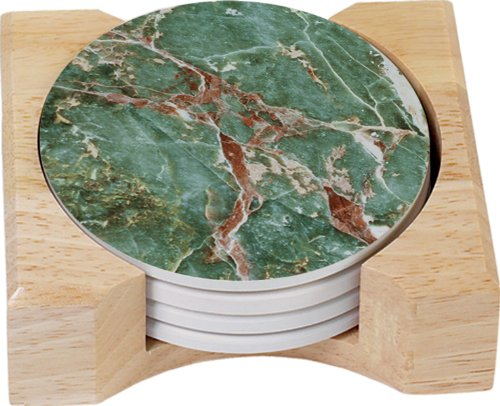 (CounterArt Green Slate Design Round Absorbent Coasters in Wooden Holder, Set of 4)