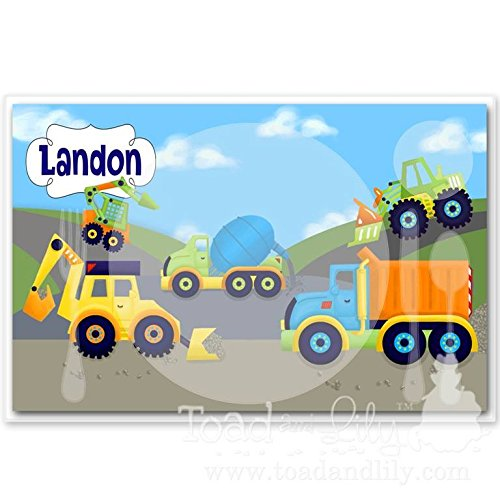 Kids PLACEMAT Bright Construction Children's Personalized Wipe-able Place Mat Learn to Set the Table Laminated Kids Placemat PLM004 Toad and Lily