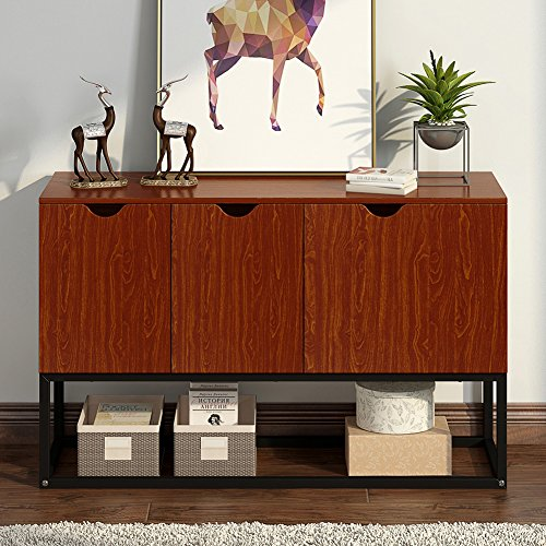"""LITTLE TREE Console Sofa Table Standing Storage Cabinet Side Organizer Unit, 47.24""""x15.75""""x31.50"""", Cherry by LITTLE TREE (Image #1)"""