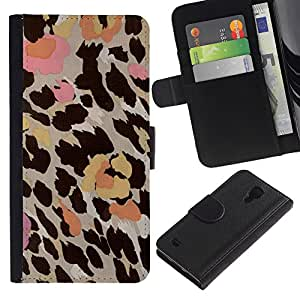 EuroTech - Samsung Galaxy S4 IV I9500 - Leopard Pattern Fur Flowers Pastel Abstract - Cuero PU Delgado caso Billetera cubierta Shell Armor Funda Case Cover Wallet Credit Card