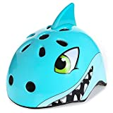 Kingdom GB Kids Safety Lightweight Adjustable Helmet Dino/Fox/Bear/Shark/for Cycling/Skateboarding/Skating/Scooter for Ages 3-12 (Shark, Medium-54-58cm (Age6-12))
