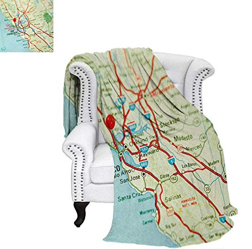 Bay Digital Map - Digital Printing Blanket Vintage Map of San Francisco Bay Area with Red Pin City Travel Location Summer Quilt Comforter 70