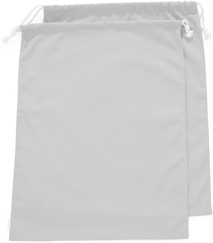 Augbunny 100% Cotton Canvas Travel Laundry Bag, 2-Pack (Large, Light Grey)
