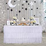 9ft Tulle Tutu White Table Skirt with 3 Tier Dust Ruffle Skirting for Round or Rectangular Table for Party, Meeting, Birthday, Wedding Decoration and Home Decor(L108Inch×H30Inch)