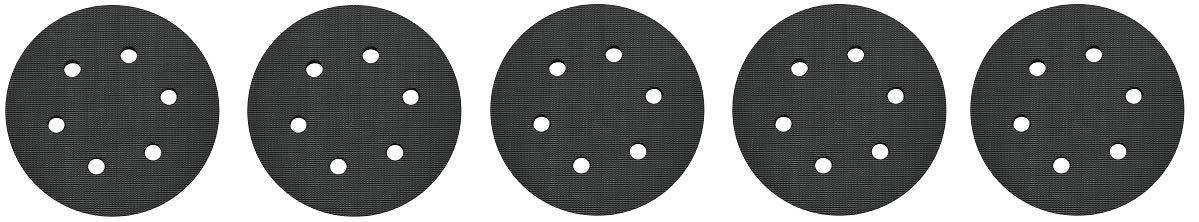 PORTER-CABLE 18001 6-Inch 6-Hole Hook and Loop Standard Pad for 7336 and 97366 Random Orbit Sander (5-(Pack))