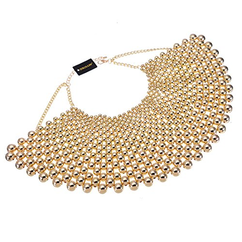 Debut Gold Crystal - Bib Collar Necklace Chunky CCB Resin Beads Chain Choker Statement Necklace Womens Fashion Jewelry Necklace