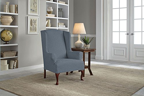 Serta 1 Piece Reversible Stretch Suede T Wingback Chair Slipcover, Steel Gray Herringbone/Gray Solid by Serta (Image #4)