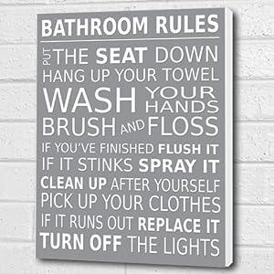 Bathroom Rules Wall Art Box Canvas   Light Grey A3 12x16 Inch