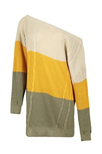 - Be Jealous Womens Off The Shoulders 3 Colours Blocks Jumper Ladies Chunky Knitted Dress