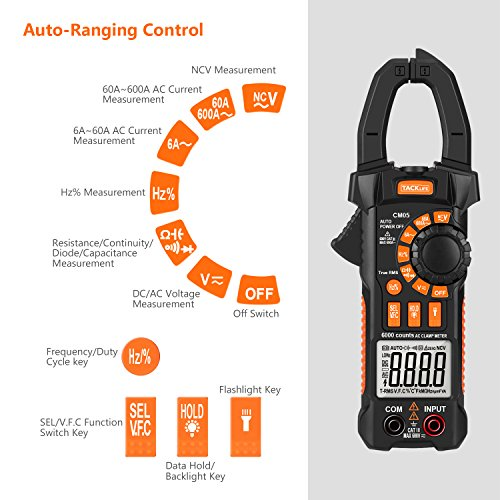 Clamp Meter, Tacklife CM05 Clamp Multimeters, 6000 Counts,AC/DC Voltage Tester, AC Current Detector, AC Signal Frequency, VFC, NCV, Resistor, Capacitor, Diode, Duty Cycle, Continuity Tester by TACKLIFE (Image #1)