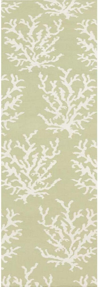 """MISC Hand-Woven Lettuce Leaf Wool Area Rug - 2'6"""" X 8' Runner Green White Abstract Latex Free Handmade Reversible"""